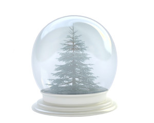 Pine Tree In Snow Globe