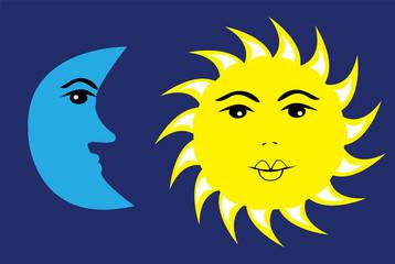 vector sun and moon