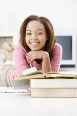 Portrait of happy afro girl