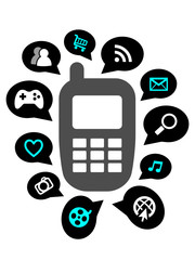 MOBILE PHONE ICON (apps functions smart services web internet)