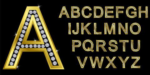 Golden alphabet set, letters with diamonds