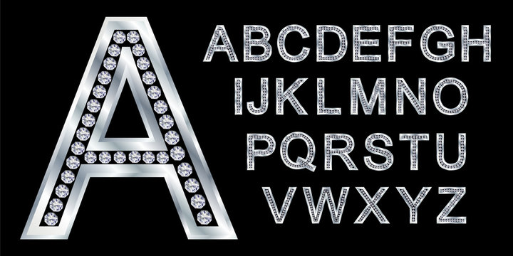 Silver alphabet set, letters with diamonds