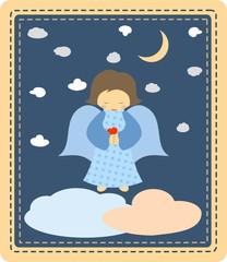 Cute little angel on night sky