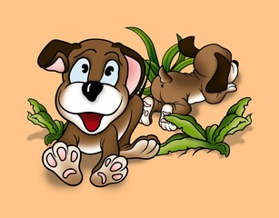Puppy Dogs - Cartoon Background Illustration