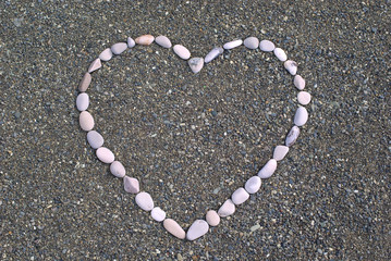 Heart from stones on the beach