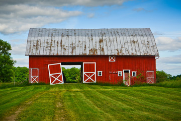 Old Red Barn on a Sunny Summer Day