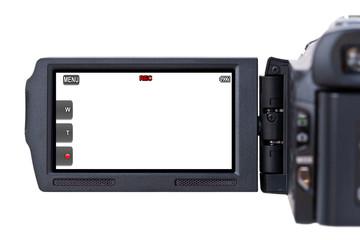 Camescope filmant sur fond blanc