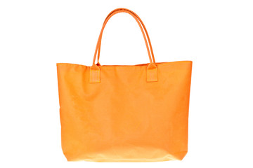 Colorful orange cotton bag on white isolated background.