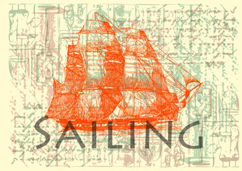 Vintage Label - Sailing