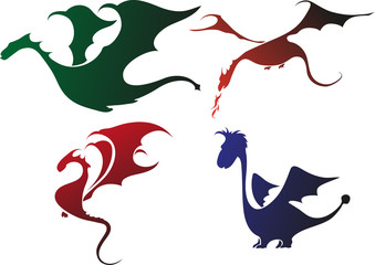 silhouettes of dragons