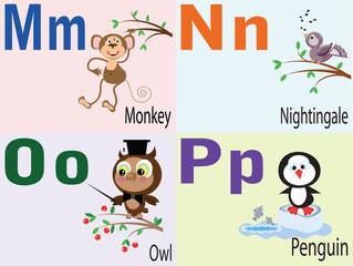 Animal alphabet M.N,O,P