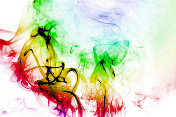 Colorful smoke abstract curly