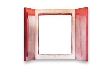 Red wood window on isolated on white background