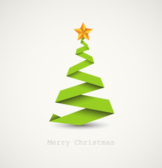Simple vector christmas tree made from paper stripe
