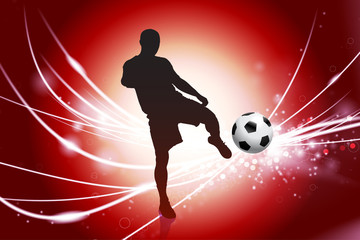 Soccer Player on Abstract Red Light Background