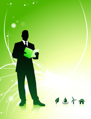 Businessman on Abstract Background with Nature Icons