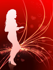 Sexy Woman on Abstract Valentine's Day Light Background