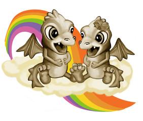 Photo sur Aluminium Dragons Влюбленные драконы на облаке
