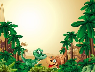 Photo sur Toile Zoo Dinosauri Cuccioli Sfondo-Baby Dinosaur Tropical Background