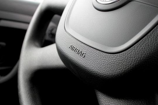 Airbag caption on the car wheel