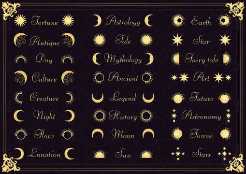 Vintage calligraphic astronomy elements illustration collection