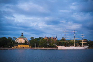 Stockholm night quay