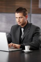 Elegant manager working on laptop