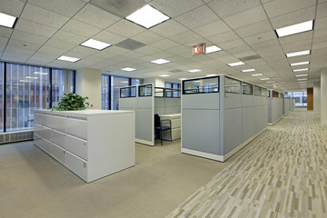 Office area with cubicles