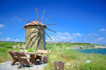 old turkish windmill with place for picnic