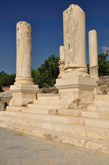 Columns in  ancient city of Beit-Shean. Israel.