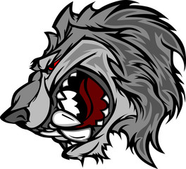 Wolf Mascot Cartoon with Snarling Face