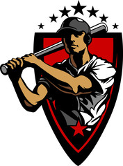 Baseball Player Batting Design Template