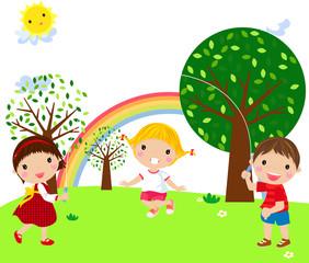 Spoed Foto op Canvas Regenboog playing children