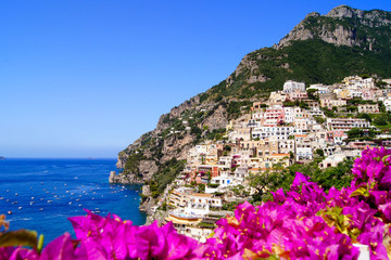 Panoramic view of Positano on the Amalfi Coast of Italy