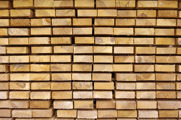 Close up view of stacked wooden boards
