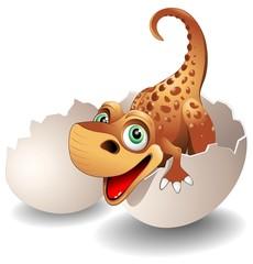 Dinosauro Neonato in Uovo-Baby Dinosaur on his Egg-Vector