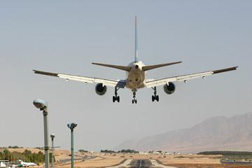 Passenger airplane before landing.