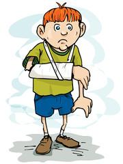Cartoon boy with a broken arm