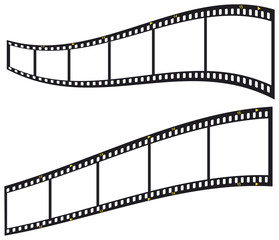 35 mm filmstrip, blank picture frames, isolated on white backgro