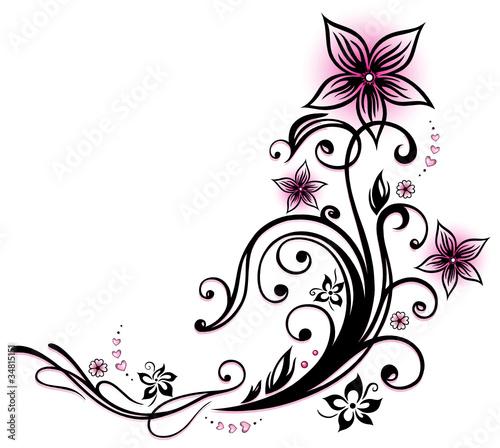 ranke flora blumen bl ten herzen love pink stockfotos und lizenzfreie vektoren auf. Black Bedroom Furniture Sets. Home Design Ideas