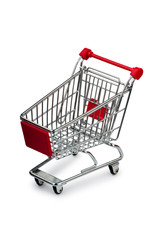 Shopping cart against the white background