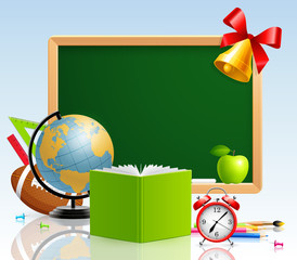 Wall Mural - Back to school greeting card with stationery