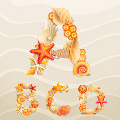Wall Mural - Vector sea life font on sand background