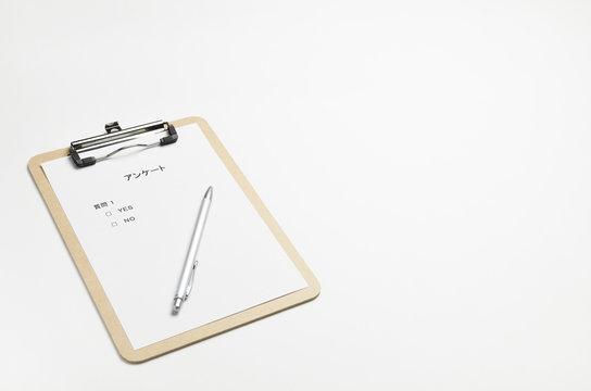 クリップボード木 アンケート ペン