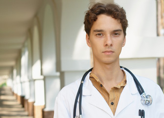 Young doctor with copy space