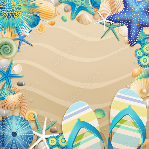 Wall mural Flip-flops and shells frame on the beach