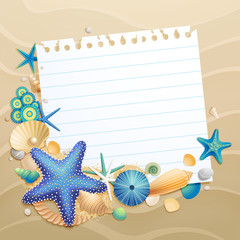 Wall Mural - Greeting card with shells and starfishes