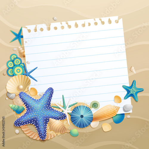 Wall mural Greeting card with shells and starfishes