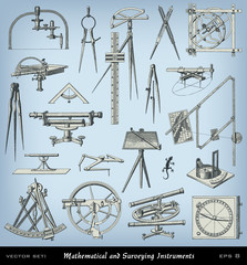 Engraving mathematical and surveying instrument set