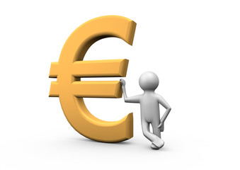 Leaning against a euro symbol